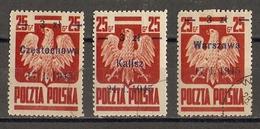 Pologne 1945 - Aigle - YT439/439a - Surcharge Villes Libérées - Czestochowa - Kalisz - Warszawa - 1944-.... Republic