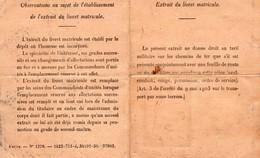 EXTRAIT DU LIVRET MATRICULE- MARINE FRANCAISE -SERVICE A LA MER - 1909 à 1939 - Documents