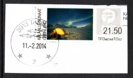 GREENLAND 2014 Aurora Borealis ATM Labels: ATM Label USED ON PIECE - Machine Stamps