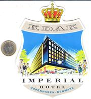 ETIQUETA DE HOTEL  -  KDAK IMPERIAL HOTEL  -COPENHAGEN -DENMARK - Hotel Labels
