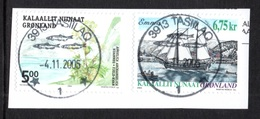 GREENLAND 2003/2004 Ship Emma/Angelica: 2 Stamps USED ON PIECE - Greenland