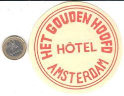 ETIQUETA DE HOTEL  - HET GOUDEN HOOFD HOTEL  -AMSTERDAM  -HOLLAND - Hotel Labels