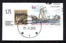 GREENLAND 2001/2002 Unissued 5 øre Stamp/Ship Stærkodder: 2 Stamps USED ON PIECE - Greenland