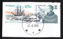 GREENLAND 2000/2003 Ship Godthaab/Queen Margrethe II Definitive: 2 Stamps USED ON PIECE - Greenland