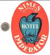 ETIQUETA DE HOTEL  - HOTEL IMPERATOR  -NIMES -FRANCIA - Hotel Labels