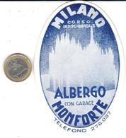 ETIQUETA DE HOTEL  -ALBERGO MONFORTE  -MILANO -ITALIA - Hotel Labels