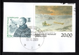 GREENLAND 1999/2000 Queen Margrethe II Definitive/Art Of Peter Rosing: 2 Stamps USED ON PIECE - Greenland