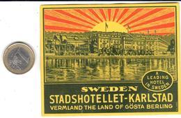 ETIQUETA DE HOTEL  -STADSHOTELLET -KARLSTAD- SWEDEN (SUECIA) - Hotel Labels