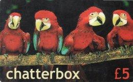 CARTE PREPAYEE ROYAUME-UNI  *£5 CHATTERBOX  Perroquets Parrots - United Kingdom