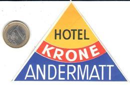 ETIQUETA DE HOTEL  - HOTEL KRONO  -ANDERMATT  -SUIZA - Hotel Labels