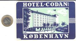 ETIQUETA DE HOTEL  - HOTEL CODAN  -KOBENHAVN (COPENAGUE) DINAMARCA - Hotel Labels