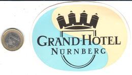 ETIQUETA DE HOTEL  - GRAN HOTEL  -NÜRNBERG (NUREMBERG)  -ALEMANIA - Hotel Labels