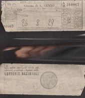16769)SC1 GIOCO DEL LOTTO GIOCATA DA LIRE 100 1953 CIRCA TERNO - Lottery Tickets