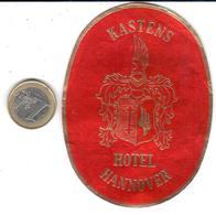 ETIQUETA DE HOTEL  -KASTENS HOTEL -HANNOVER -ALEMANIA - Hotel Labels