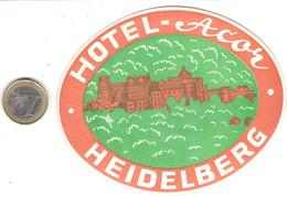 ETIQUETA DE HOTEL  -HOTEL ACOR  -HEIDELBERG  -ALEMANIA - Hotel Labels