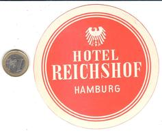 ETIQUETA DE HOTEL  -HOTEL REICHSHOF  -HAMBURG -ALEMANIA - Hotel Labels