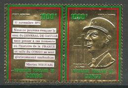 Congo Poste Aérienne YT N°135/136 Hommage Au Général De Gaulle (Timbre Or) Neuf ** - Congo - Brazzaville