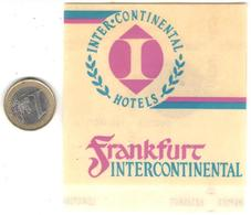ETIQUETA DE HOTEL - INTER CONTINENTAL HOTELS  -FRANKFURT -ALEMANIA - Hotel Labels