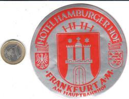 ETIQUETA DE HOTEL -  HOTEL HAMBURGER HOF  -FRANKFURT A.M. -ALEMANIA - Hotel Labels