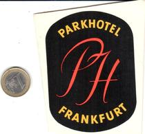 ETIQUETA DE HOTEL - PARK  HOTEL  -FRANKFURT  -ALEMANIA - Hotel Labels
