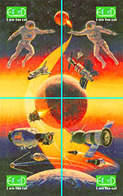 SPACE COSMOS UNIVERSE PLANETS SUN MOON NASA ASTRONAUTS SHUTTLE 2 PUZZLE OF 8 PHONE CARDS - Space