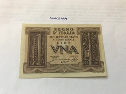 Italy Uncirculated Banknote 1 Lira - Italia – 1 Lira