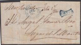 PREFI-530 CUBA SPAIN STAMPLESS PREFILATELIA 1843 BAEZA HABANA FRANCO A SANTANDER - Voorfilatelie