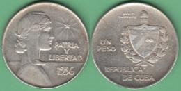 1936-MN-10 CUBA 1936 REPUBLICA ABC UN PESO SILVER AG. 26gr. - Cuba