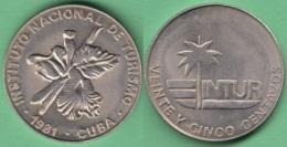 1981-MN-134 CUBA INTUR TOKEN 25c 1981 ORQUIDEA ORCHILD FLOWER XF PLUS. - Cuba