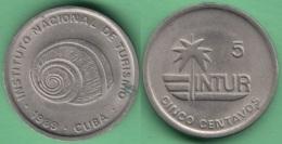 1989-MN-150 CUBA INTUR TOKEN 5c 1989 POLIMITA SNAIL XF. - Cuba