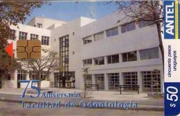 TARJETA TELEFONICA DE URUGUAY. 336a (75 ANIVERSARIO FACULTAD DE ODONTOLOGÍA) (249) LIGERA DOBLEZ - Uruguay