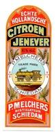 """07819 """"ECHTE HOLLANDSCHE CITROEN JENEVER - P. MELCHERS - SCHIEDAM"""" ETICH. CON TRENO, LABEL WITH TRAIN - Etichette"""