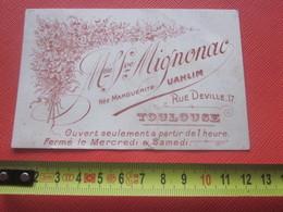 """1904 Carte De Visite Publicitaire Fleurs Mme Veuve Mignonac N""""e Marguerite Uahlim 17 Rue Deville Toulouse - Visiting Cards"""