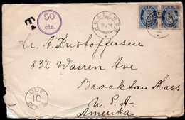 Norway To USA TWICE Taxed Cover 1921 - Noorwegen
