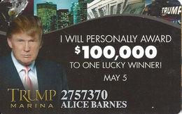 Trump Marina Casino - Atlantic City NJ - Slot Card - Casino Cards