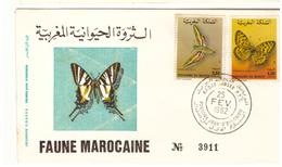 Maroc FDC Avec 2 Timbres 921 Et 922 De 1982 Faune Papillons - Morocco (1956-...)