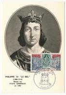 FRANCE - Carte Maximum - Histoire De France :  PHILIPPE LE BEL - Premier Jour - Paris 1968 - Maximum Cards