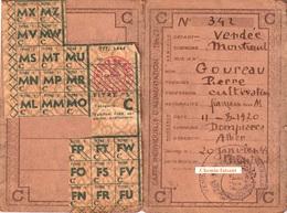 Carte De Ravitaillement GOUREAU Pierre Cultivateur à Dompierre 03 - Montreuil 85 Le 20/01/1944 - Scans Recto-verso - Documents