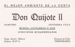 Carte De Visite Discothèque Don Quijote II (Dancing, Guitarra Club), Carretera De Cadiz, Torremolinos (années 1970) - Cartes De Visite