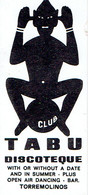 Carte De Visite Discothèque Tabu Club, Open Air Dancing, Bar, Carretera De Cadiz, Torremolinos (années 1970) - Visiting Cards