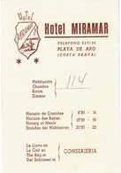 Carte De L'Hôtel Miramar, Playa De Aro, Costa Brava, Espagne (années 1970) - Visiting Cards