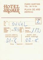 Carte De L'Hôtel Aromar, Paseo Maritimo, Playa De Aro, Costa Brava, Espagne (années 1970) - Cartes De Visite