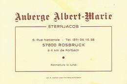 Carte De Visite Auberge Albert Marie (Sternjacob), Rue Nationale, Rosbruck (Forbach), (années 1970) - Visiting Cards