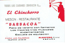 """Carte De Visite El Chinchorro Meson Restaurante """"Barbacoa"""", Finca Las Palmeras, Albufera (années 1970) - Visiting Cards"""