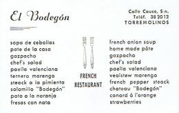 Carte De Visite El Bodegon French Restaurant, Calle Cauce, Torremolinos  (années 1970) - Cartes De Visite