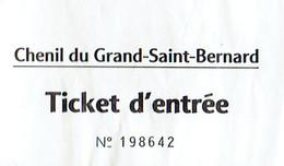 Ancien Ticket D'entrée Chenil Du Grand Saint Bernard (années 1970) - Tickets D'entrée