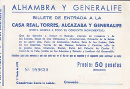 Ancien Ticket D'entrée Alhambra Y Generalife, Granada (Grenade) (années 1970) - Tickets D'entrée