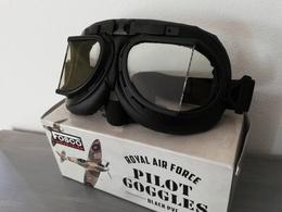 Lunettes Aviateur ROYAL AIR FORCE Noires ( Moto Biker Vespa Raf Retro Vintage Goggles RAF ) - Aviation