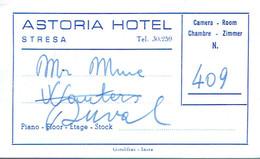 Carte De Visite Astoria Hotel (T. Bonazzi), Via P. Tomaso Stresa (années 1960) - Visiting Cards