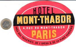 ETIQUETA DE HOTEL  -  HOTEL MONT HARBOR  -PARIS - Hotel Labels